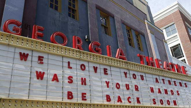 The closed Georgia Theatre in downtown Athens, Ga., on Thursday, March 19, 2020.