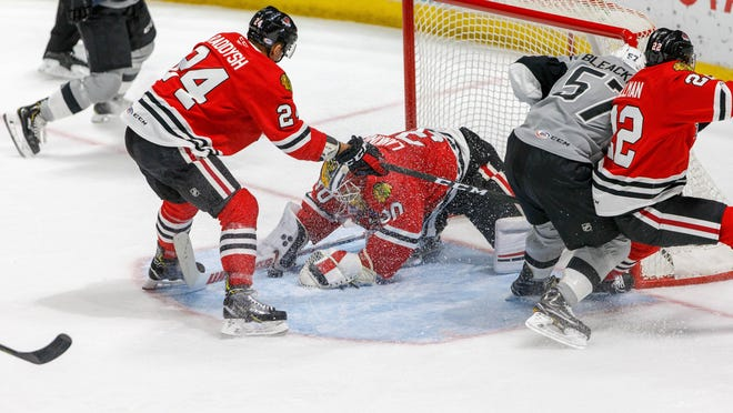 IceHogs goalie Kevin Lankinen sprawls to make a save against San Antonio during the shortened AHL season. Fifteen players from this year's Hogs team, including Lankinen, will suit up for the Chicago Blackhawks as they get set for the upcoming Stanley Cup qualifying round in Edmonton starting Aug. 1.