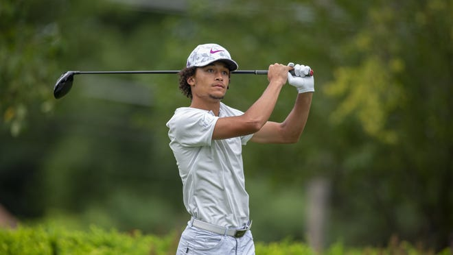 Marcus Smith, shown teeing off in the third round last year, is the defending champion in the Men's City golf tournament, which begins Saturday at Ingersoll.