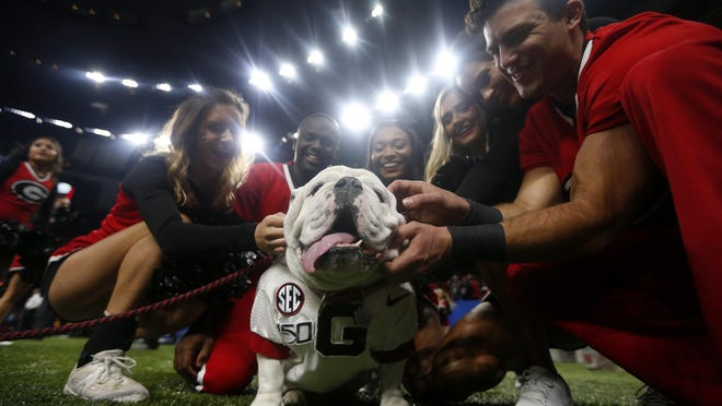 """Georgia cheerleaders pose with the school's mascot """"Uga"""" the bulldog before the Sugar Bowl  game against Baylor in New Orleans on Jan. 1."""