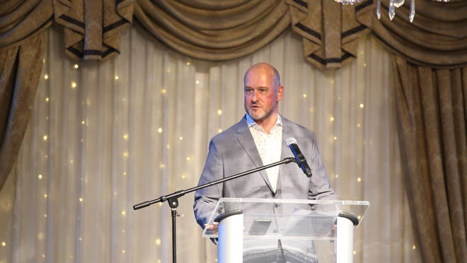 Mat Parker the director of athletics for Rockford Public Schools opens the hall of fame ceremony on Saturday, Feb. 8, 2020, at Radisson Hotel & Conference Center.