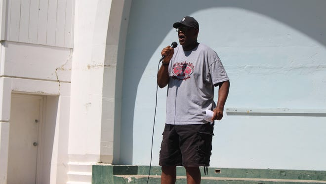Earnest Frazier , who has lived in McPherson for four decades, told his story of living in Mac during a Black Lives Matter march Saturday.