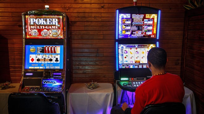 Video gaming machines are seen at Mariah´s Steakhouse.