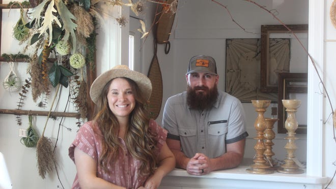 Stephanie and Seth Buckman are the owners of Apple Blossom Furnishing Co., 123 E. Front St., Adrian. The new furniture and home decor store has a little bit of everything, including antiques, clothes, plants, custom wreaths, candles and homemade pillows.