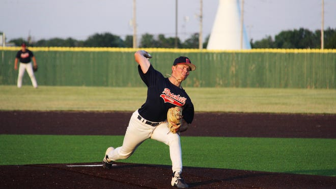 Ethan Peterson pitches in the fourth inning against the Derby Twins on Monday, June 15 at Rose Hill High School. The Sophomore from Hutch CC pitched two innings.