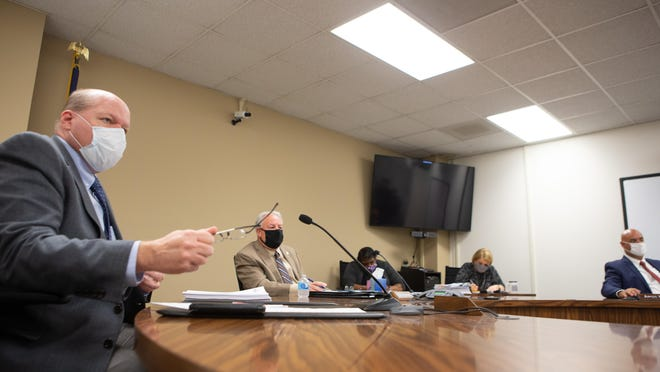From left, Shawnee County Commissioners Kevin Cook, Bill Riphahn and Aaron Mays meet Aug. 13 to consider the county's plan for its share of federal CARES Act dollars.