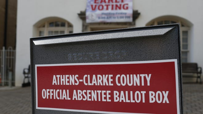 An absentee ballot drop box in front of the Board of Elections office in downtown Athens in May.