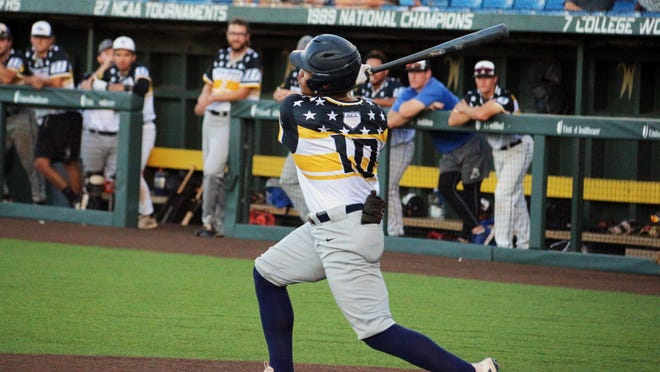 Hutchinson Monarch Clayton Chadwick swings in the second inning of the 2020 Sunflower Collegiate League All-Star Game. He drove in the first run en route to the win for the West squad.