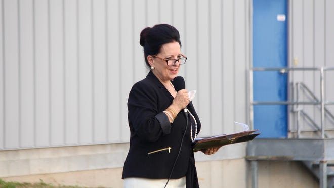 Rebecca McDonald, president of Women at Risk International, speaks during a forum on the risk of human trafficking on Monday, Aug. 24, at Teddy's Transport in Holland, Mich.
