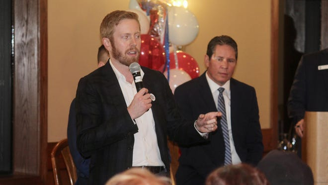 District Three candidate Peter Meijer speaks during a candidate forum in Forest Hills, Mich., in Dec. 2019.