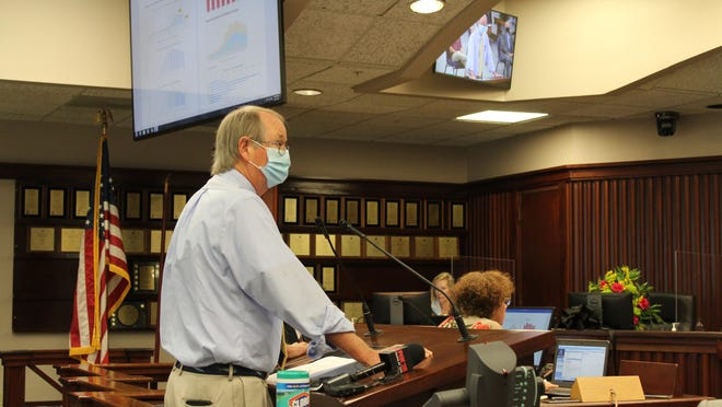 Coastal Health District Director Dr. Lawton Davis speaks before the Chatham County Commission during their Aug. 21 meeting.