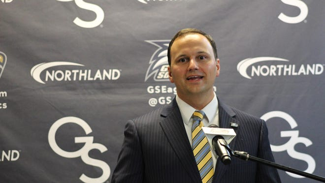 Georgia Southern athletic director Jared Benko at his introductory press conference earlier this year in Statesboro.