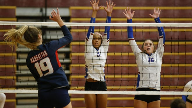 Seaman's Camryn Turner (left) and Hailey Minger have helped lead the Vikings to a 10-2 record and No. 8 ranking in Class 5A in the latest KVA rankings.