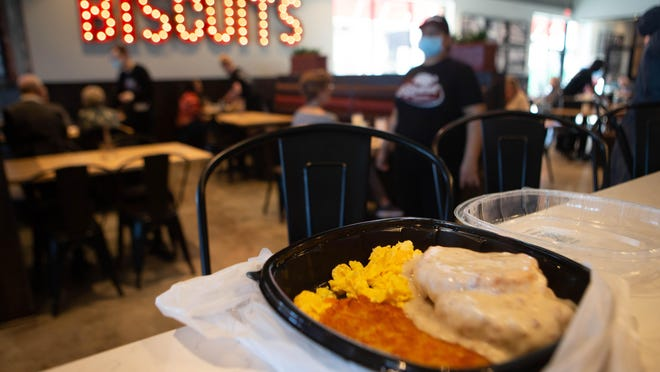 Jim's Platter at The Big Biscuit, 2815 SW Wanamaker Rd., comes with a hearty biscuit with gravy and eggs and potatoes to your liking for $8.99 plus tax.