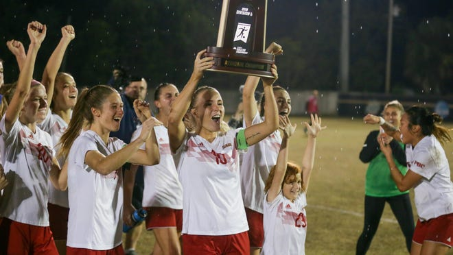 Flagler College co-captain Sara Sandberg celebrates after winning the NCAA Division II Southeast Region title for the first time in program history. Flagler, which is part of the Peach Belt Conference, will be on a delayed fall sports schedule.