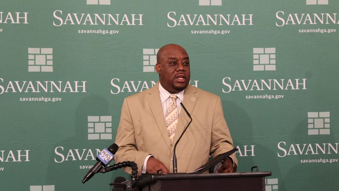 Savannah Mayor Van Johnson speaks at a City Hall press conference on Tuesday, June 2.