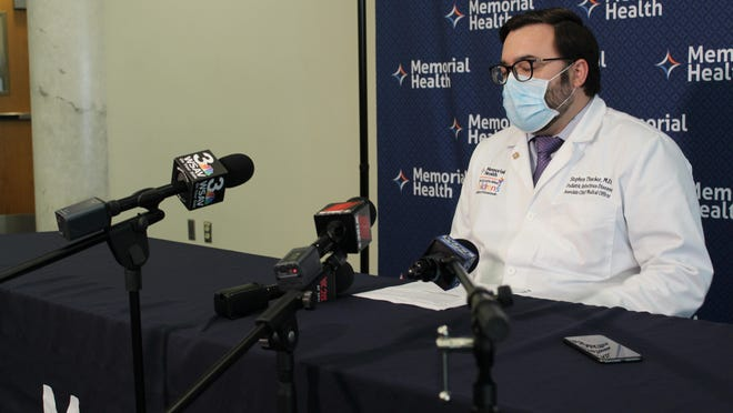 Dr. Stephen Thacker, the associate chief medical officer and director of pediatric infectious disease at Savannah's Memorial Health University Medical Center, holds a press conference on April 24.