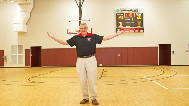 Clarence Morgan shows off the new gym on Thursday. It is to be dedicated on Sunday.