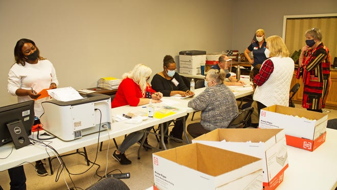 Boxes of ballots are scanned on Nov. 3 in Effingham County.