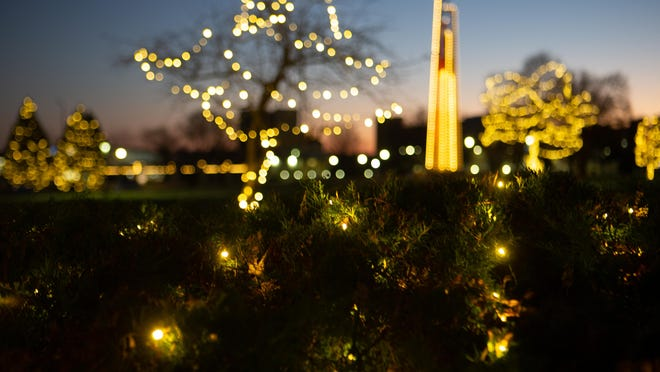 Lights cover the campus of Washburn University on Friday evening for the Winter Walk.