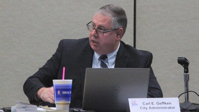 Fort Smith City Administrator Carl Geffken discusses the city's 2021 budget at a Board of Directors study session Tuesday, Dec. 1, 2020, in the Fort Smith Convention Center. Department requests are expected to drive the 2021 deficit up, but Geffken believes the city's budget surplus from 2020 will help pay for it.