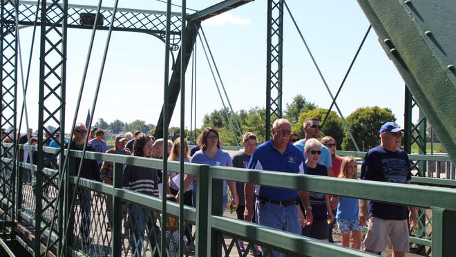 The Labor Day walk across the Silver Creek Bridge in Morenci, pictured during the 2019 event, is scheduled to be held this Labor Day, Sept. 7, with precautions in place because of the coronavirus pandemic.