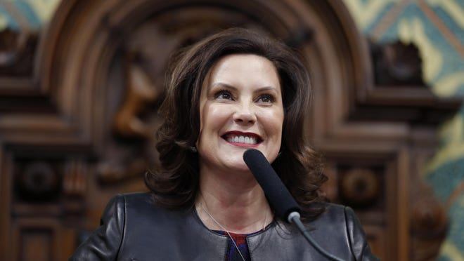 Gov. Gretchen Whitmer delivers her State of the State address to a joint session of the House and Senate Jan. 29, 2020, at the state Capitol in Lansing. Whitmer said Friday she will deliver this year's State of the State address online rather than to a joint session of the Legislature due to the pandemic.