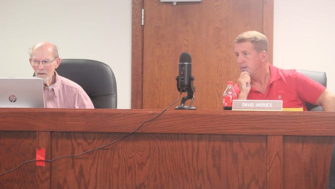 District Two Commissioner Larry Tiejema (left) and District One Commissioner and Board Chair David Hodges participate in an Ionia County Board of Commisisoners meeting Tuesday, Oct. 13, at the Ionia County Administrative Building, 100 W. Main St., in Ionia.