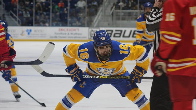 Lake Superior State's Ashton Calder (16) is the WCHA Forward of the Month. The junior from Sault Ste. Marie produced three goals and two assists during November, helping the Lakers to a 3-0-1 start.