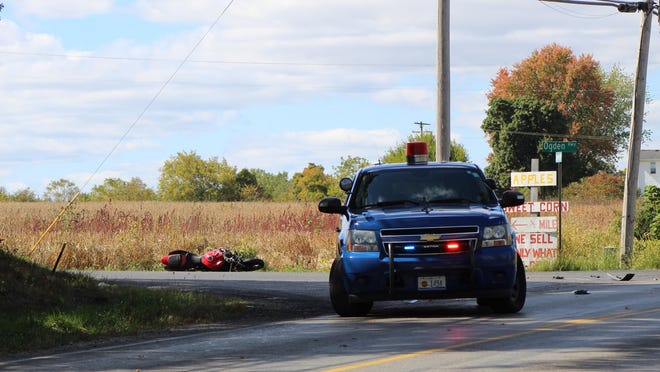 A motorcycle crashed Monday afternoon at the intersection of Deerfield Road and Ogden Highway.