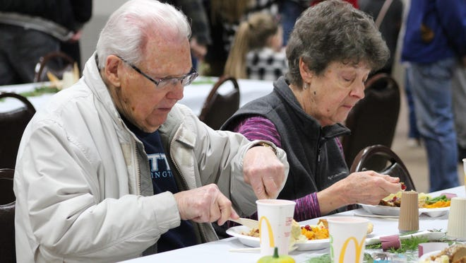 Last year, those in attendance at the Salvation Army Community Dinner had a delicious dinner of turkey, stuffing, mashed potatoes, squash and all the other fixings for a traditional Thanksgiving dinner. This year, there will be some modifications made to the event, thanks to the COVID-19 pandemic. Tribune File Photo by Kortny Hahn
