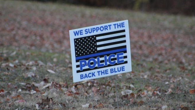 There have been many of these signs popping up around the county, showing support for local law enforcement. The Cheboygan County Board of Commissioners recently passed a resolution affirming their support for the law enforcement around the county and nationwide. Tribune File Photo by Kortny Hahn