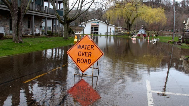 Flooding on Lucy Street in Saugatuck on April 30.