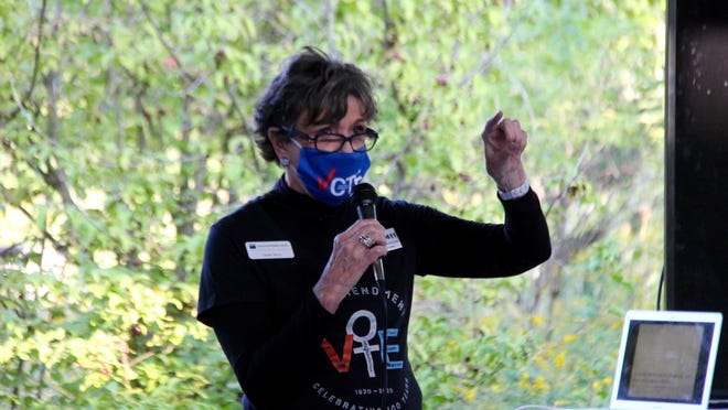 League of Women Voters Holland Area President Claudia Berry speaks during the league's annual kickoff event Thursday, Sept. 18, 2020 at the Outdoor Discovery Center in Holland, Mich.