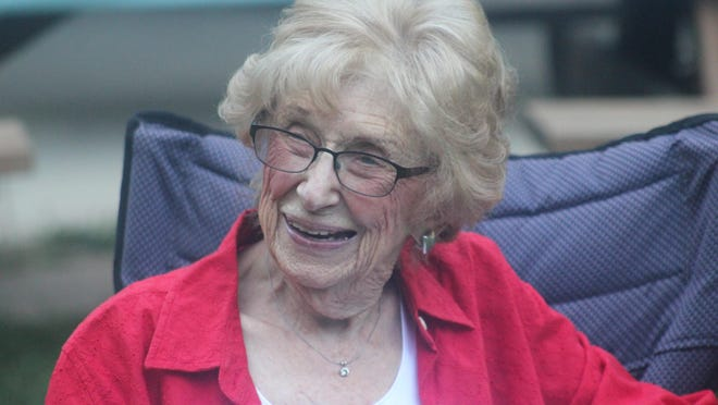 June Faulkner, who turned 100 years old on July 26, celebrated her birthday with the Ionia Area Chamber of Commerce on Aug. 12, at Bertha Brock Park.
