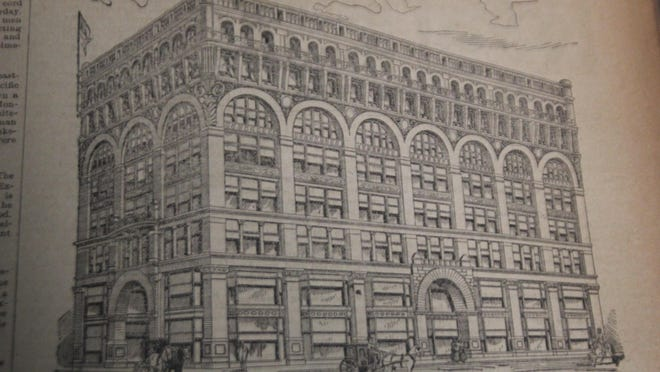 """The above is a cut of J. L. Hudson's mammoth new store in Detroit, which will be formally opened on Thursday, Sept 17. Every Ionian should feel proud of the enterprise and push that has placed """"Joe"""" Hudson in the front rank of Detroit merchants. He will gladly welcome all his old friends to his new quarters."""