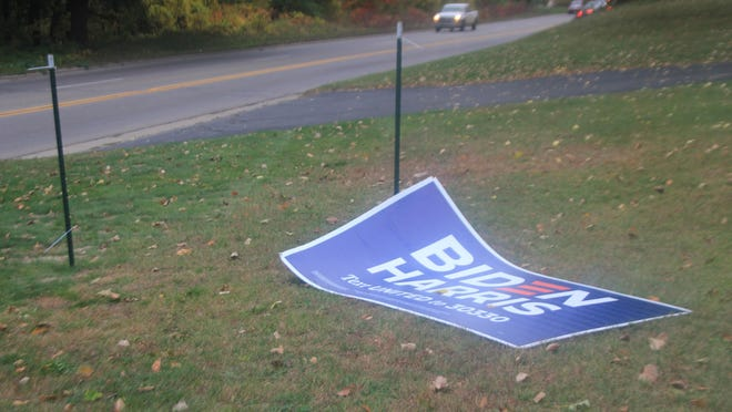 Richard and Barbara Mackowiak, of Ionia, said their yard sign was vandalized Sunday night, Oct. 11, outside their home in the 1500 block of South State Road. The sign displayed support for the Democratic ticket of Joe Biden and Kamala Harris and was provided by the Ionia County Democratic Party.