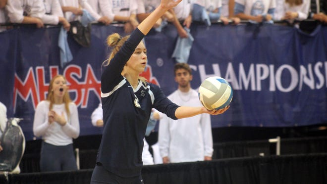 Lake Odessa Lakewood's Aubrey O'Gorman prepares to serve during a MHSAA Division 2 girls volleyball championship match in 2019 at Kellogg Arena in Battle Creek. Lakewood lost to Grand Rapids Christian in three sets.