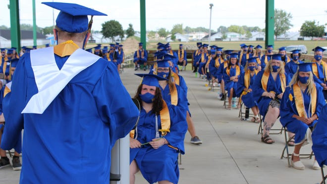Brody French, Centreville High School class of 2020 co-president, addressed his classmates during Sunday's graduation ceremony at the St. Joseph County Fairgrounds.