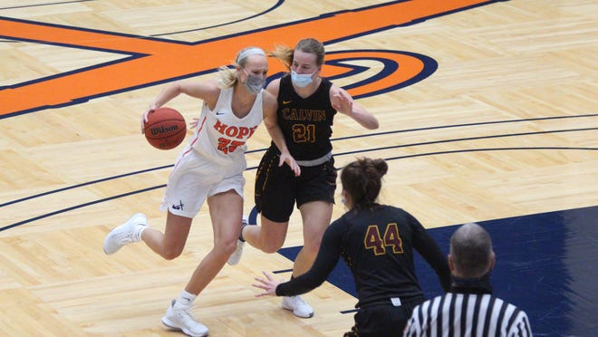 The Hope College women's basketball team defeated Calvin University at DeVos Fieldhouse in Holland on Saturday, Jan 30, 2021.
