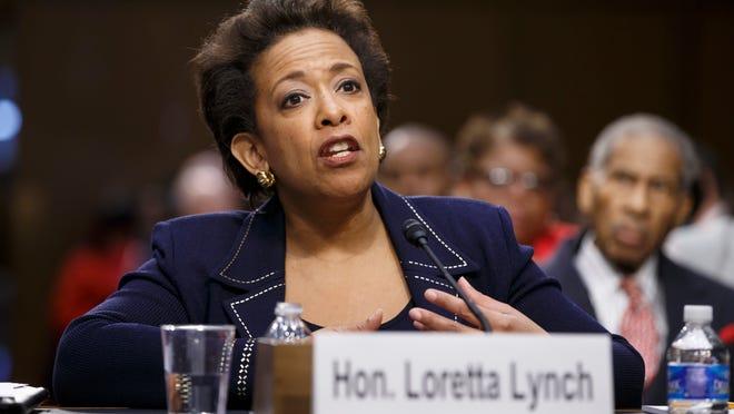 Attorney General nominee Loretta Lynch testifies in January on Capitol Hill in Washington.