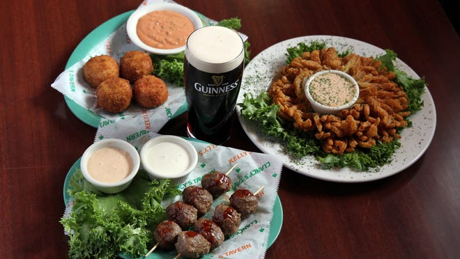Guinness Meatballs, Reuben Balls and Homemade Blooming Onion at Kelly's Tavern in Neptune.