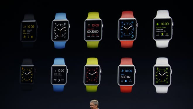 Apple CEO Tim Cook debuts the Apple Watch Sport during an Apple event Monday in San Francisco. Apple is expected to unveil more details on the much-anticipated Apple Watch, the tech giant's entry into the rapidly growing wearable technology segment.