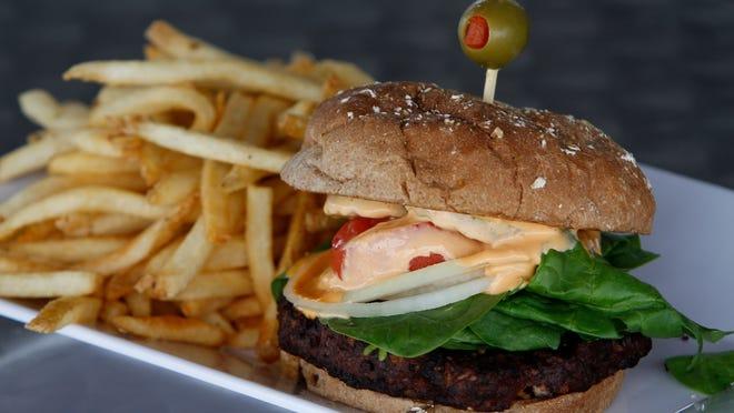 The black bean and chipotle veggie burger at Fat Katz Sports Bistro Tuesday.