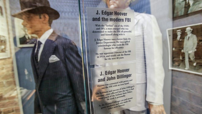 Clothing belonging to FBI Director J. Edgar Hoover and FBI Agent Melvin Purvis are on display at the new John Dillinger museum in Crown Point.
