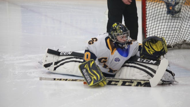 DeWitt/St. Johns goaltender Jamie Humphrey is in her third season of playing boys hockey. She played for Grand Ledge/Waverly during her first two seasons and now is the starting netminder for DSJ.