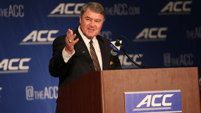 ACC commissioner John Swofford, pictured here at basketball media day last October, was in Louisville on Tuesday.