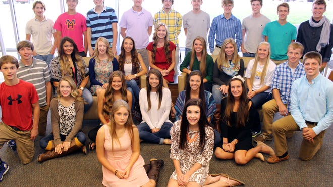 The 2014 Mountain Home High School homecoming royalty shown are: (first row, from left) Maddie Achee and Lillian Cousins; (second row) Brook Gregg, Kylie Beshears, Katie Wehmeyer, Kiley Berry, Rebecca Zurcher and Cara Conner; (third row) Issac McKay, Megan Chaney, Erin Blair, Sierra Lee, Summer Webers, Lakyn Moren, Natalie Ungerank, Ashton Garner, David Byrd and Marshall Roberson; (fourth row) Reid Barrow, Macllain Edington, Robert Manning, Collin Oxford, Walker Seats, Brett Hensley, Jimmy McDaniel, Spencer Wilbur, Lane Alexander and Wyatt Roberson. The 2014 homecoming king and queen will be named at 6:30 p.m. today prior to the homecoming football game.