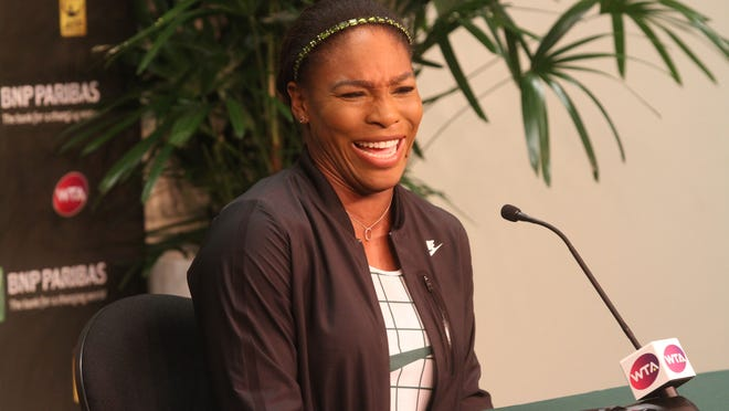 Serena Williams answers questions from the press during her first press conference of the 2015 BNP Paribas Open at Indian Wells on March 12, 2015.
