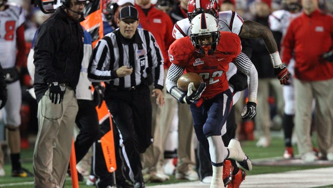 Former South Alabama defensive back Qudarius Ford returns an interception during his college days. The Tate High grad and current Toronto Argonaut will get a chance to  play for the Canadian Football League's Grey Cup on Sunday.